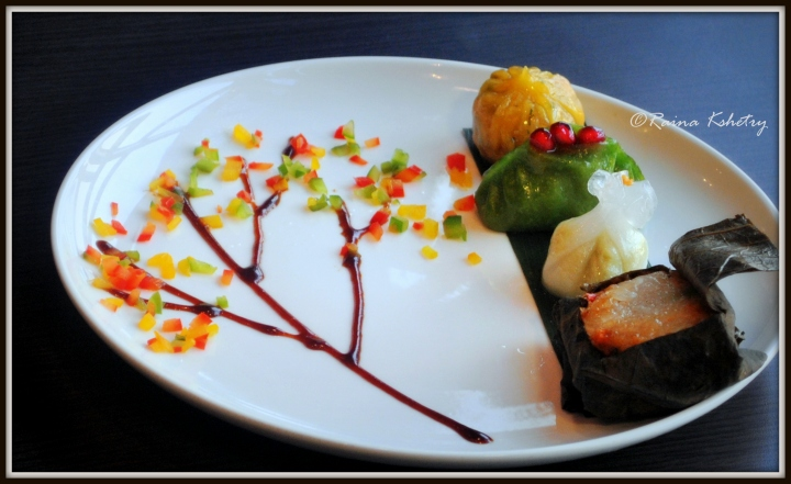The Vegetarian selection comprised of The Vegetable Crystal Dumpling, Sticky Rice in Lotus Leaf, The Edameme Dumpling and The Pomegranate infused dumpling