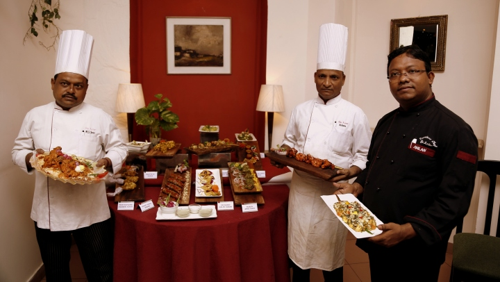 From left to right Chef Madhu Jana, Chef Islam and Chef Amlan Bose