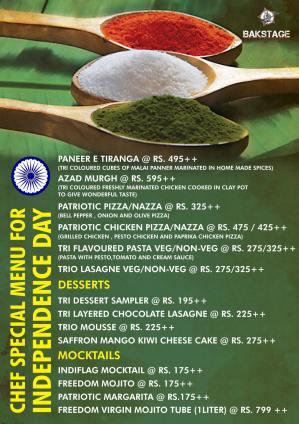 bakstage iday menu